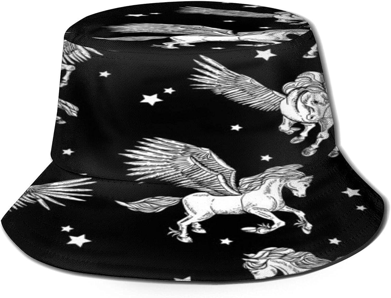 Vintage White Winged Pattern Bucket Summer Sun Charlotte Mall Free shipping Hat Unisex Pa