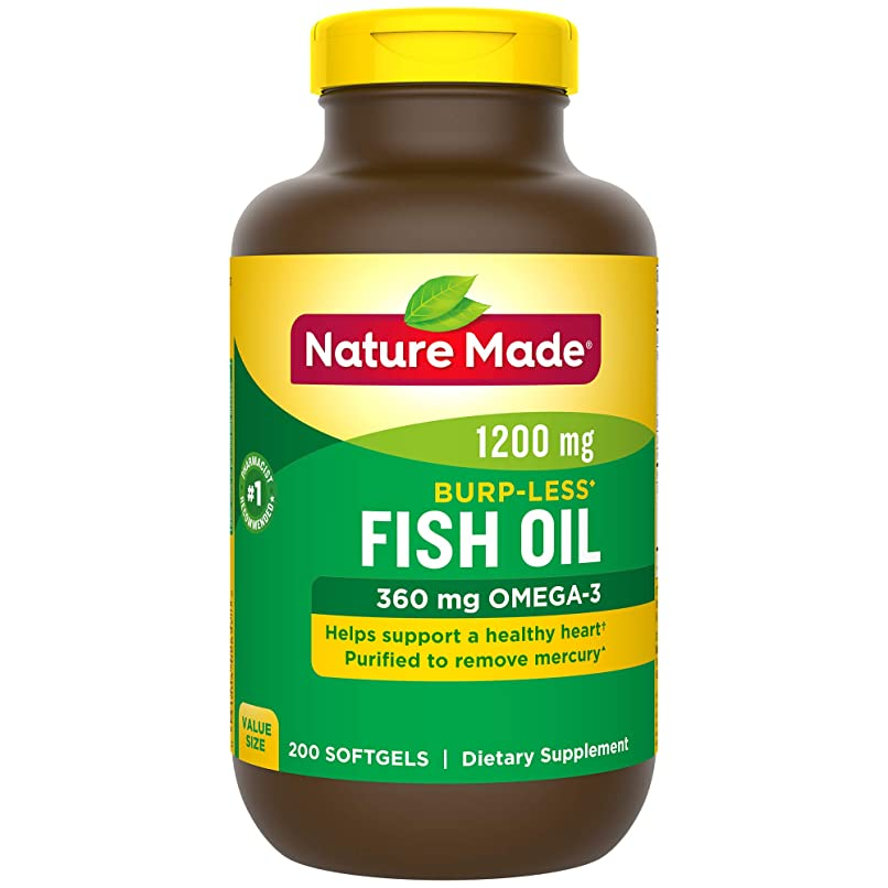大変換歩き回るNature Made Fish Oil 1200 Mg Burp-less, Value Size, 200-Count 海外直送品