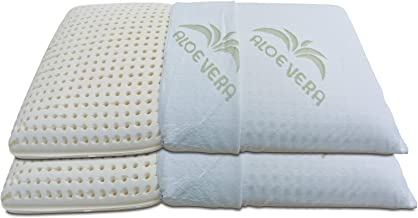 Baldiflex Pack de 2 Almohadas de Látex Perforada Modelo Jabón 70x40 Massage Ultra Transpirable Funda 100% Aloe Vera Extraíble y Lavable