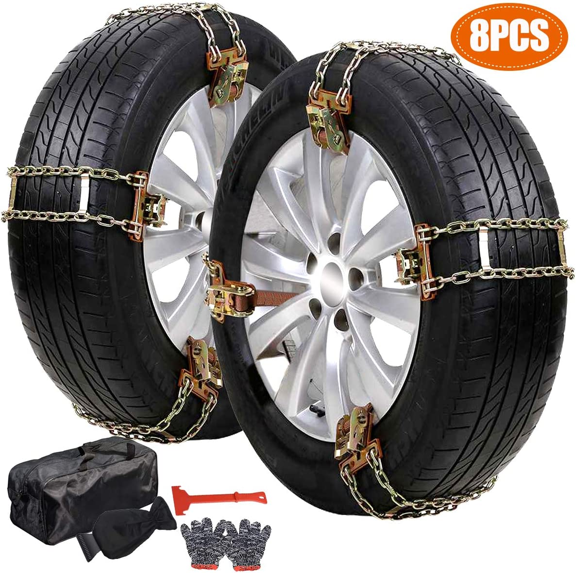 DoCred Tire Snow Chains 6 Pack Tire Chains for Cars//SUVs//Trucks//Pickups of Tire Width 215mm-285mm 8.46-11.22 inch Heavy Duty Thickened Adjustable Snow Chains with Ice Scrapper Gloves