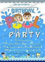 Invitaciones de fiesta para piscina, invitaciones de fiesta de salpicaduras para niños con tarjetas gruesas + sobres de freno