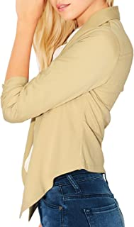 Womens Lightweight 3/4 Sleeve Open Front Draped Work Office Casual Blazer Cardigan