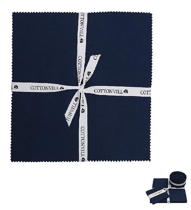 COTTONVILL Cotton Solid Precut Quilting Fabric Bundle 42 pcs, Navy (10