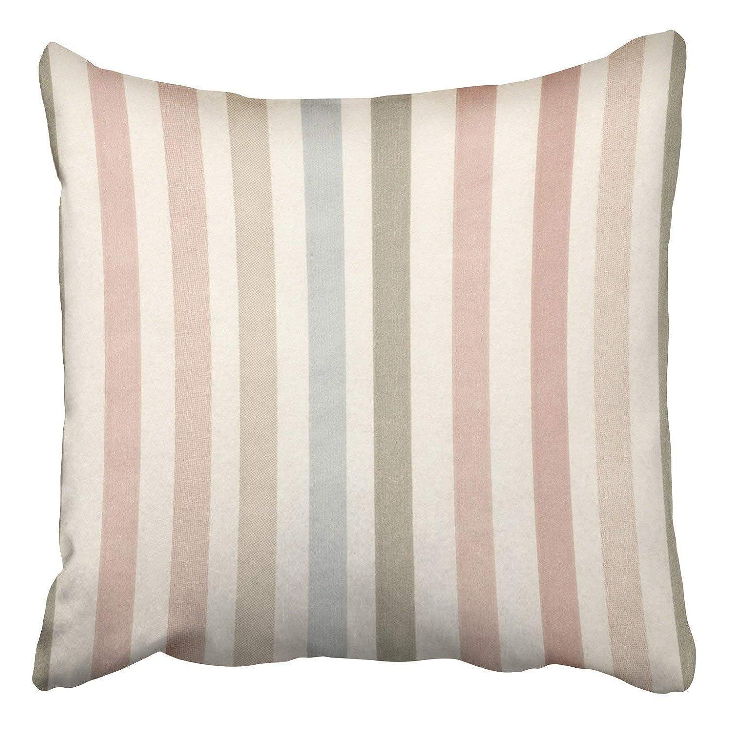 除去一目呼吸柔らかい色の縦縞の色合いピンクグレーブルーの装飾枕カバーポリエステル45x45 cmスクエア隠しジッパーホームクッション装飾枕