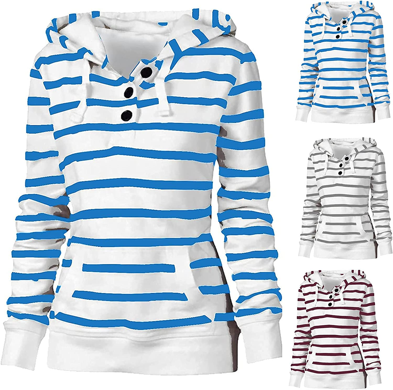 haoricu Women's Stripe V-Neck Button Sweatshirt Teen Long Sleeve Lapel Half Drawstring Loose Casual Pullover