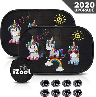 iZoeL - Parasol para coche de bebé, 2 unidades, diseño de elefante y unicornio, 80 g/m², 8 ventosas, protección universal ...