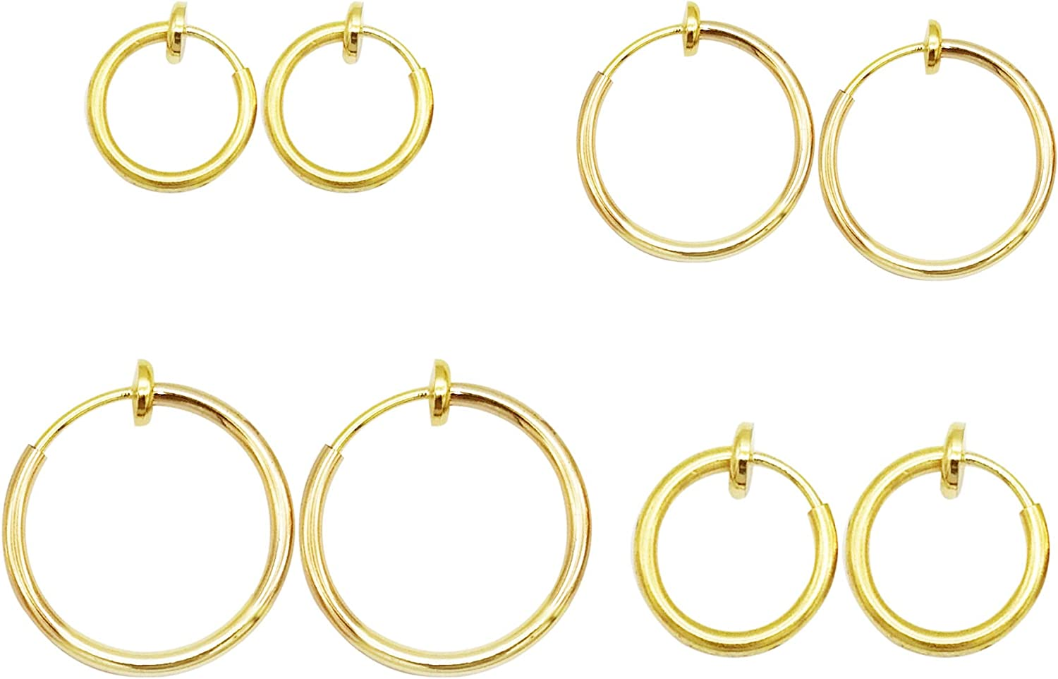 Lanxy Clip On Earrings 4PCS Different Ros Black OFFicial store Silver Size Gold Selling and selling
