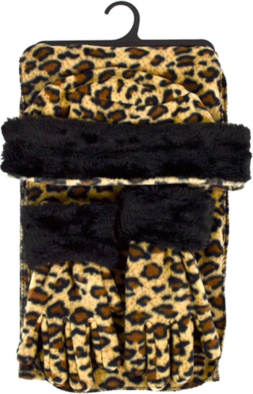 Brown Leopard 3-Piece gloves scarf Hat Faux Fur Winter Set WSET92