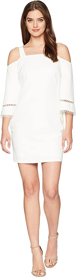 Laundry by Shelli Segal Crepe Dress with Lace Trim & Bell Sleeve