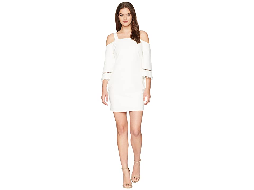 Laundry by Shelli Segal Crepe Dress with Lace Trim Bell Sleeve (Star White) Women