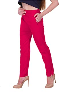 Saundarya Women's Cotton Lycra Pant Stretchable Regular Fit Cigarette Trouser Chinos Both Side Pocket