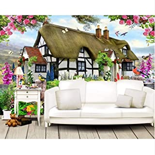 Pbldb Custom Wallpapers Gorgeous Pastoral English Country Cottage Rose Garden Children's Room Tv Backdrop Mural 3D Wallpaper-400X280Cm
