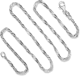 925 Sterling Silver 2 MM Singapore (Twisted Curb) Italian Chain - Lobster Claw Clasp 16-30""