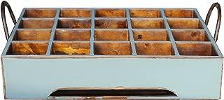 Antique Revival Vintage-Style Large Wooden Milk Crate, Aqua