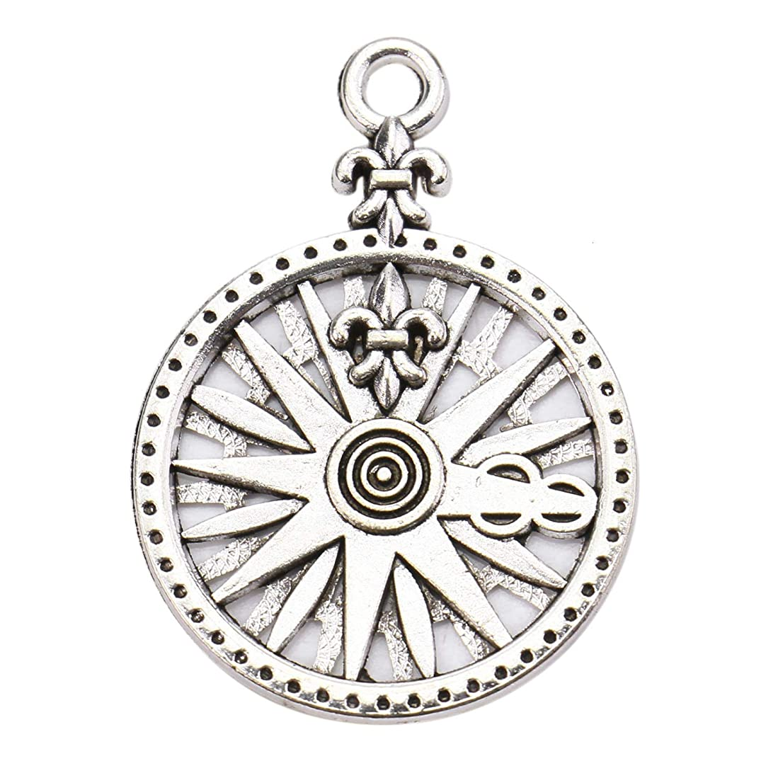 Monrocco 50 Pack Silver Compass Charms Pendants Bulk for Bracelets Jewelry Making,24x22mm