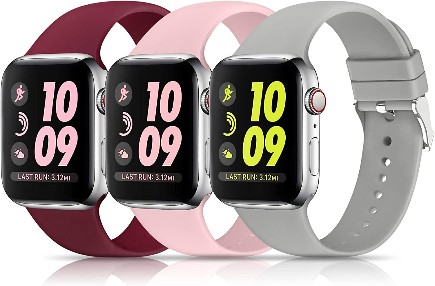 3 Pack Sport Bands Compatible with Apple Watch Band 38mm 40mm 42mm 44mm, Soft Silicone Sport Replacement Band Compatible with iWatch Series 6 5 4 3 2 1 Women Men ( Wine Red/Gray/Pink 38MM/40MM)