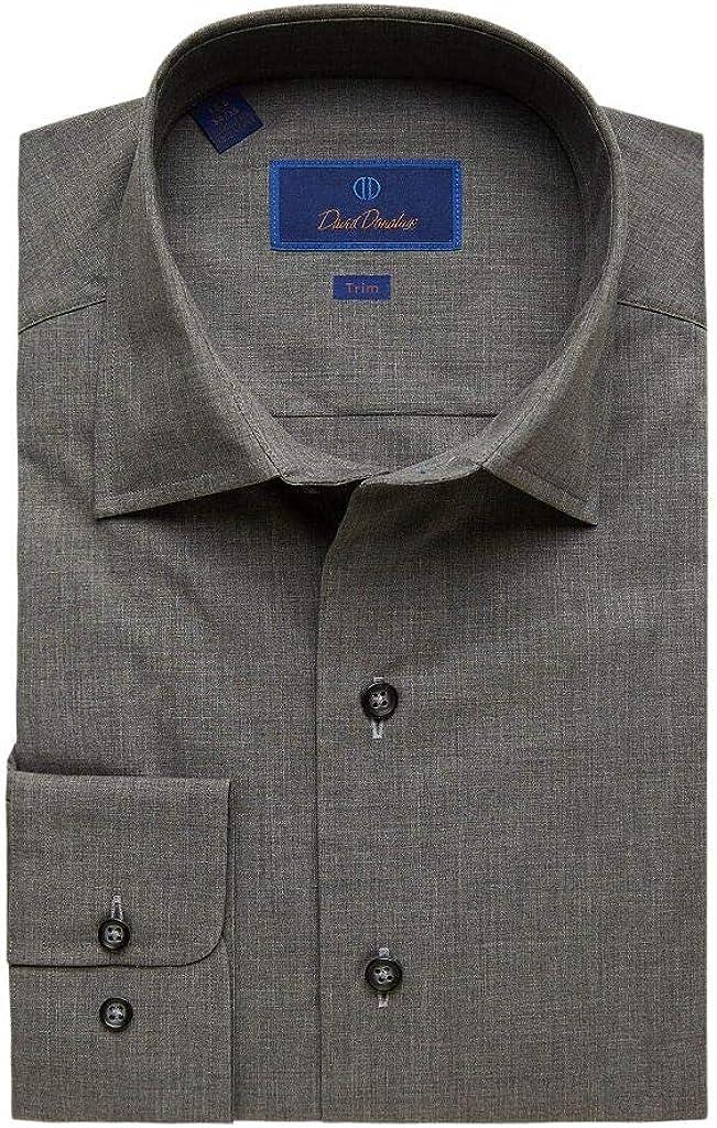 David Donahue Men's Trim Fit Fusion Solid Charcoal Dress Shirt