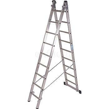 Escalera industrial de aluminio tijera un acceso con base 2 x 9 peldaños serie strong: Amazon.es: Hogar