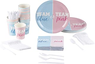 Gender Reveal Party Supplies – Serves 24 – Includes Plastic Knives, Spoons, Forks, Paper Plates, Napkins, and Cups, Perfect Party Pack for Announcement Parties and Baby Showers, Blue and Pink