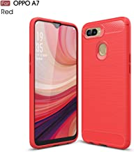 TiHen Case OPPO F7 Youth, Case Shockproof Silicone Carbon fiber texture Light Brushed Grip Case 360° Protective Case Cover For OPPO F7 Youth Red + Free Screen Protector