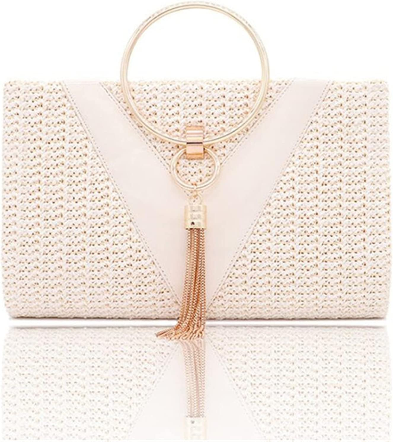 NC Womens Evening Bags Handbags with Metal Handle Tassel Clutch Chain Shoulder Purses Design for Lady Wedding Party (Color : A-Beige)
