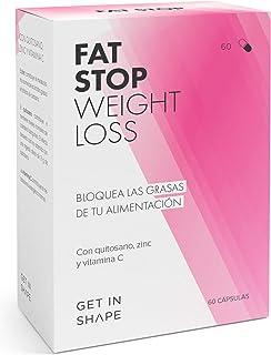 FAT STOP – Bloqueador grasas en cápsula – Se adhiere a la grasa de los alimentos y reduce la ingesta calórica (chitosan, vitamina C) – de GET IN SHAPE