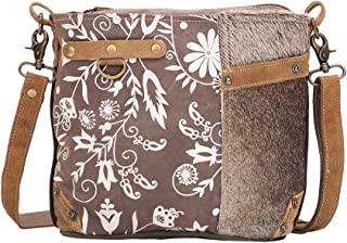 Linaria Upcycled Canvas & Cowhide Shoulder Bag S-1505