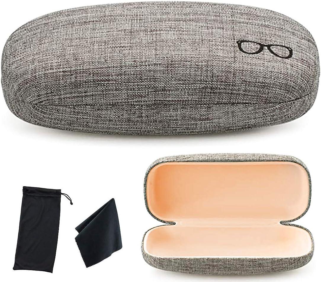 Hard Shell Eyeglasses Case Linen Fabrics Large Sunglasses Case Concise