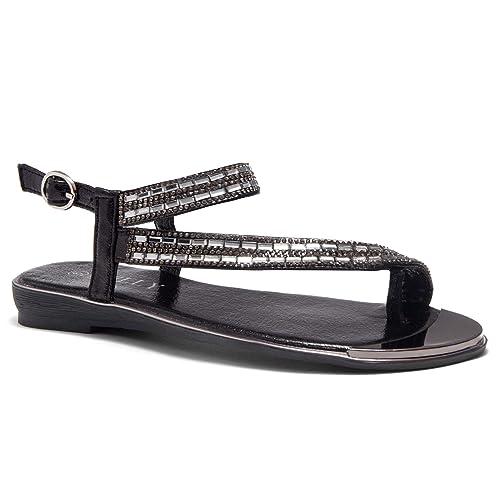 09e04cc8da1a Herstyle Women s Talluto Rhinestone Bohemian Slip On Flip Flops Shoes Strap  Gladiator Toe Loop Flat Sandals
