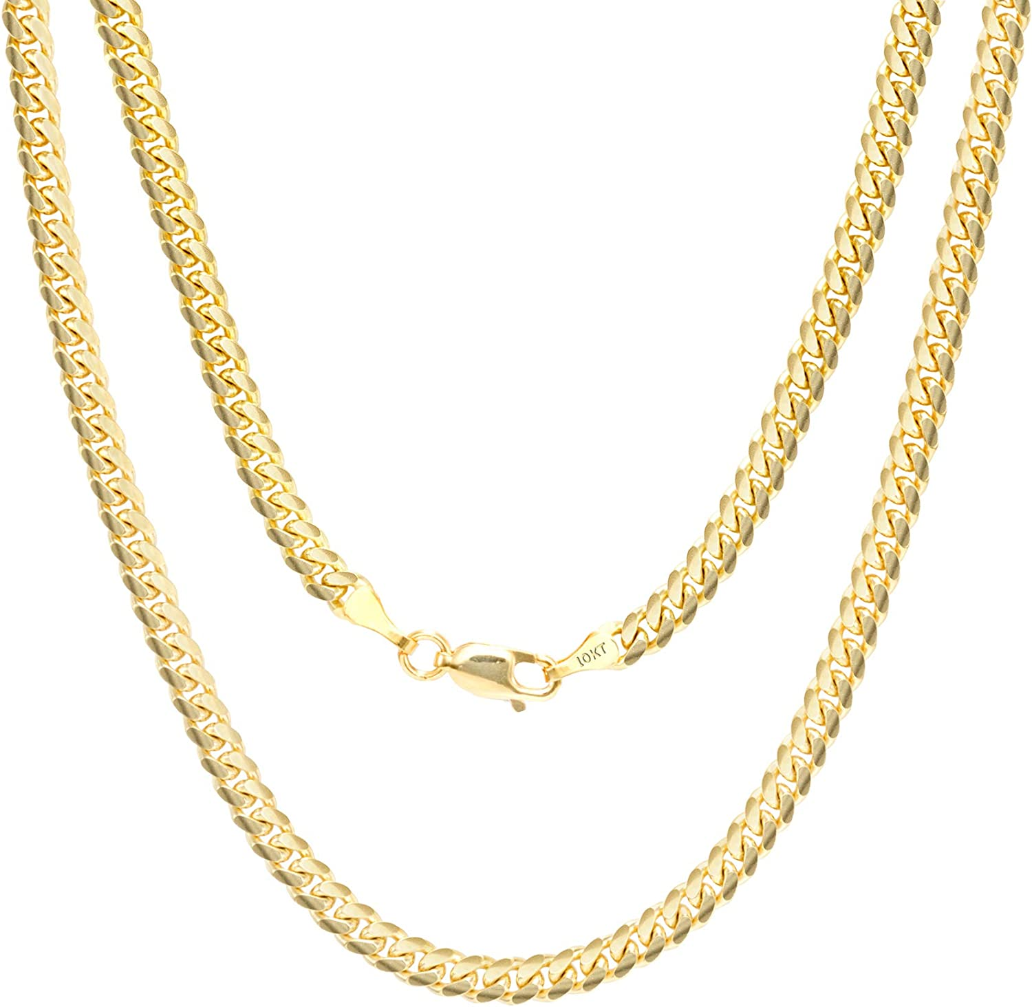 Nuragold 10k Yellow Gold 4mm Solid Miami Cuban Link Chain Pendant Necklace, Mens Womens Lobster Lock 18