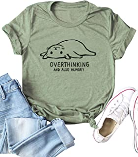 Women Fashion Cute Lazy Cat Overthinking and Also Hungry T-Shirt Short Sleeve T-Shirt Tops