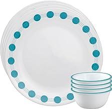 Corelle South Beach Glass Dinnerware Set, 8-Pieces, Blue/Green