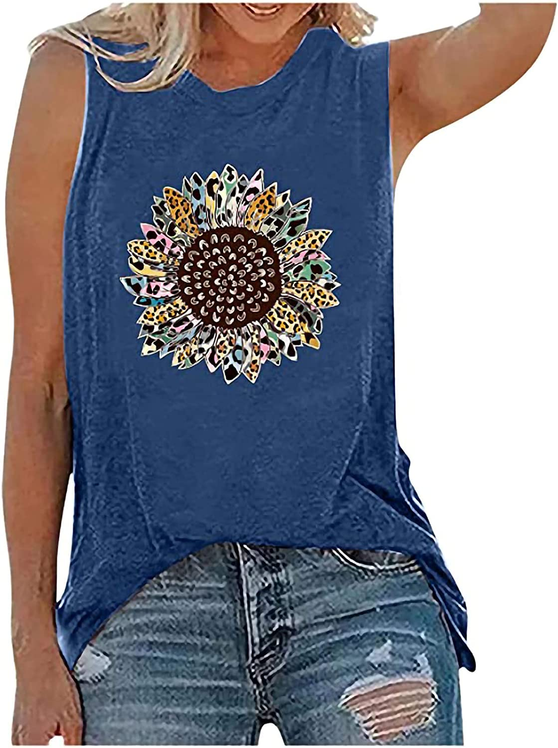 BUGI Plus Size Sunflower Printed Tee Shirts Womens Tank Tops Casual Loose Fit Sleeveless Tunics for Women Tops Night Out