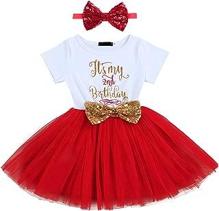 Baby Girls Newborn It's My 1st/2nd Birthday Cake Smash Shinny Printed Sequin Bow Tutu Princess Dress