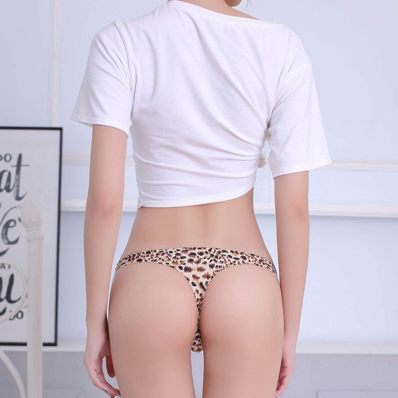 FUNEY 1PC Sexy Leopard Print T-Back Thong G-String Panties Microfiber Soft Silky Comfort Bikini Underwear for Women