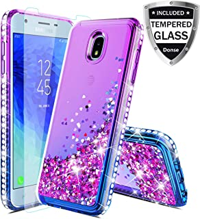 Compatible Samsung Galaxy J3 2018,J3V J3 V 3rd Gen,J3 Orbit Case,Express Prime 3,J3 Star,J3 Achieve,Amp Prime 3 Case W/Glass Screen Protector,Glitter Liquid Quicksand Diamond F/Girls Women,Purple/Blue