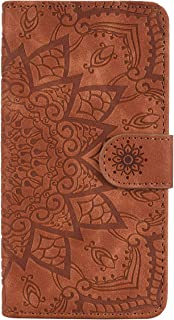 Jorisa Leather Wallet Case for Samsung Galaxy A20//A30,Retro Embossed Mandala Flower Pattern Flip Stand Case with Card Holder Magnetic Closure Book Style Purse Phone Cover,Black