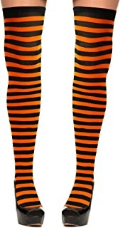 Skeleteen Orange and Black Socks - Over The Knee Orange and Black Costume Accessories Stockings for Men, Women and Kids