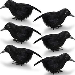 Blulu 8 Pieces 7inch Halloween Black Feathered Small Crows Black Birds Ravens Props Decor Realistic Decorations Birds