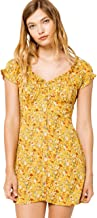 Sky and Sparrow Ditsy Peasant Button Mustard Dress