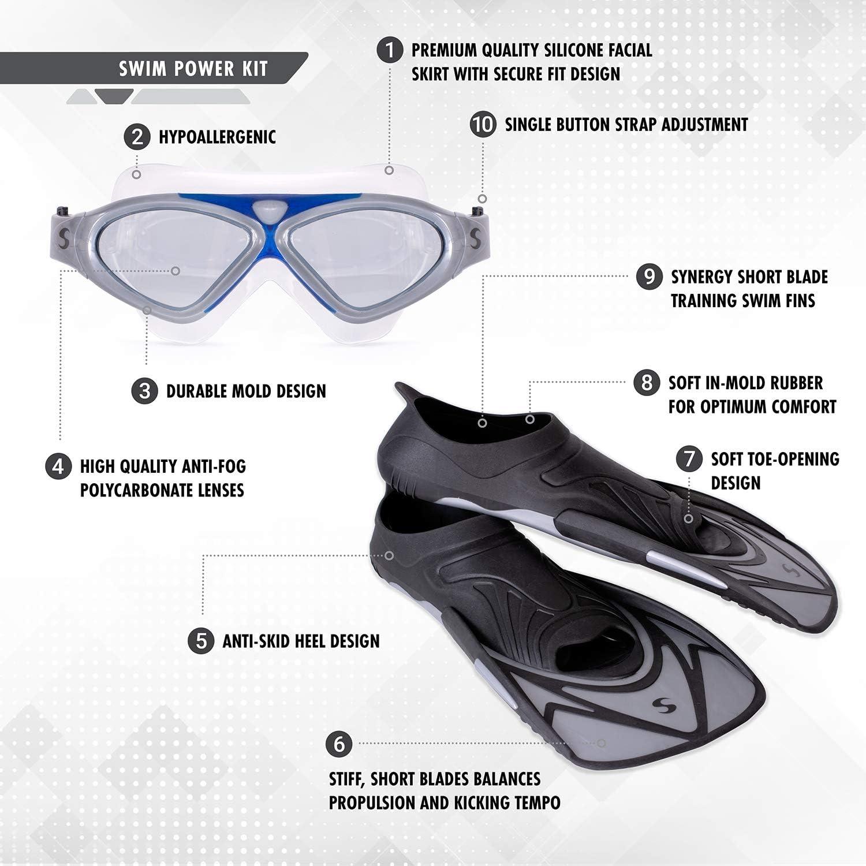 Synergy Swim Fins Swim Mask and Mesh Bag Swim Power Kit