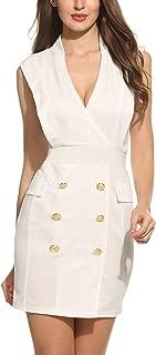 Meaneor Women's V Neck Tuxedo Dress with Gold Buttons Blazer Dresses