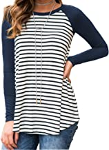 Halife Women's Raglan Long Sleeve Striped Tunic Tshirt Flowy Casual Tops Blouses
