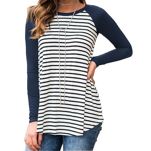 938054b15d4e Halife Women's Casual Raglan Short Sleeve Striped Tunic Shirt Flowy Summer  Tops Blouses