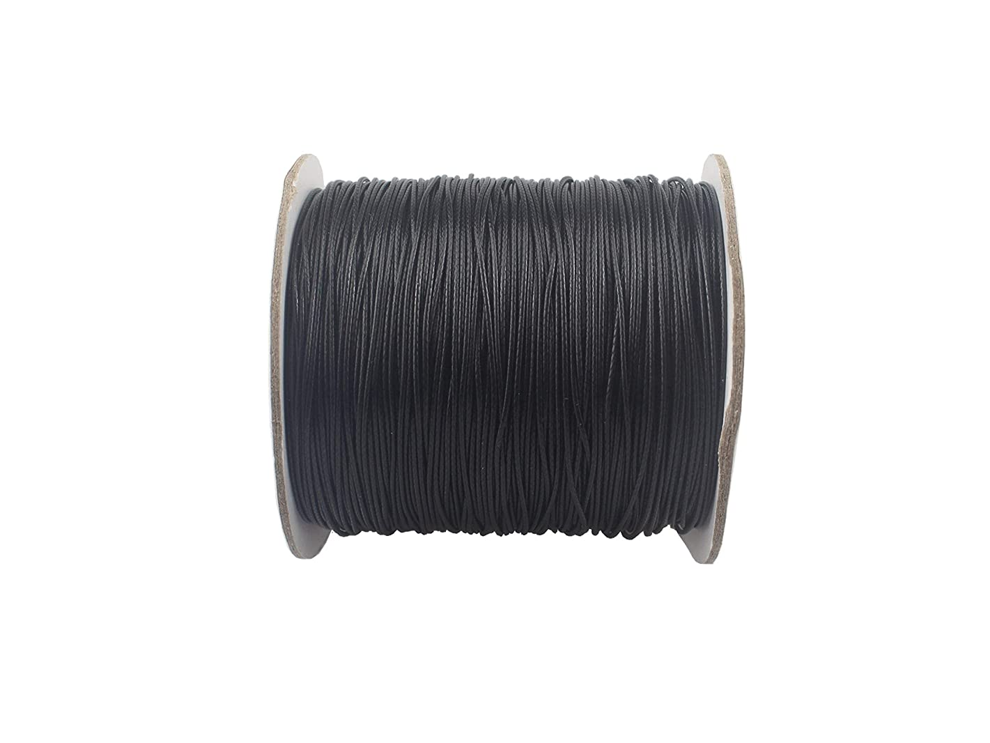 QIANHAILIZZ 150 Yards 0.5 mm Waxed Jewelry Making Cord Waxed Beading String Craft DIY Thread LXX120601805 (Black)