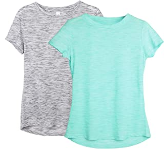 Workout Shirts for Women - Yoga Tops Gym Clothes Running Exercise Athletic T-Shirts for Women(Pack of 2)