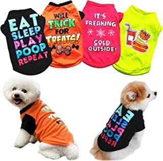 PETCARE 4 Pack Dog Shirt Soft Cotton Puppy Shirts Cute Cartoon Print Dog T Shirts for Small Dogs Boy Cat Clothes Doggy Pul...