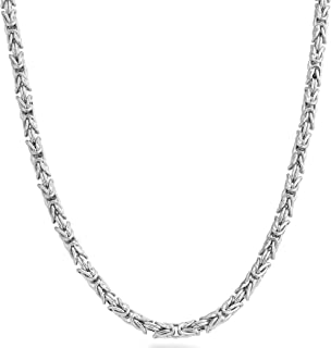 925 Sterling Silver Italian 4.5mm Solid Round Byzantine Link Chain Necklace for Women Men, 18, 20, 22, 24, 26 Inch 925 Handmade in Italy