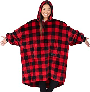 THE COMFY Dream | Oversized Light Microfiber Wearable Blanket, One Size Fits All, Shark Tank… (Red Plaid)