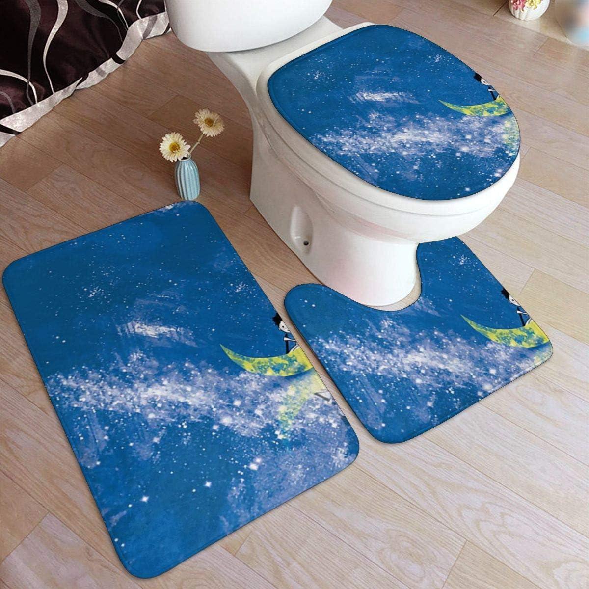 Bathroom Non-Slip Pedestal Rug+Lid Toilet Cover+Bath Mat 3PCS /& Toilet Seat Mats